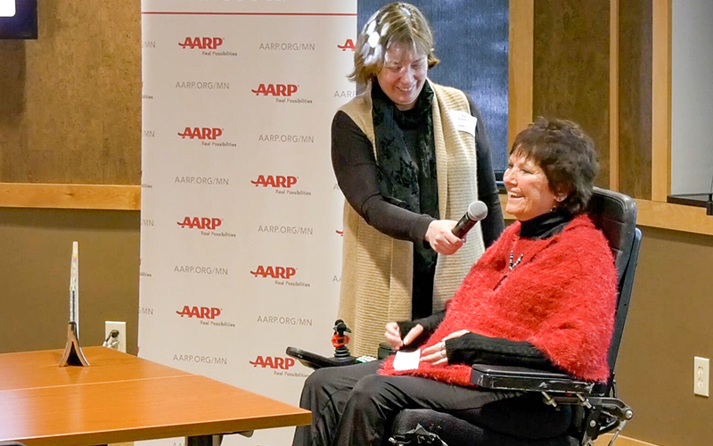 Woman being interviewed by an ICTV memeber at an AARP convention.